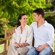 Lovers on the bench — Stock Photo #10859561