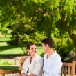 Couple on the bench — Stock Photo