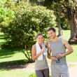 Sporty lovers in the park — Stock Photo #10859596