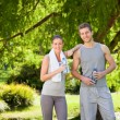 Stock Photo: Sporty lovers in park