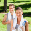 Sporty couple in the park — Stock Photo #10859968