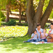 Foto Stock: Cute family picnicking in the park