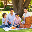 Stock Photo: Lovely family picnicking in the park