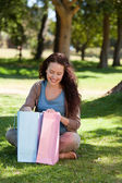 Beautiful woman with her shopping bag — Stock Photo