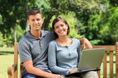 Couple working on their laptop — Stock Photo