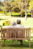 Lovers on the bench — Stock Photo