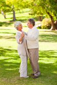 Senior couple dancing in the park — Stock Photo