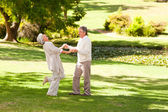 Mature couple dancing in the park — Stock Photo
