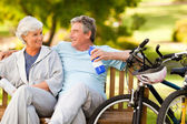 Elderly couple with their bikes — Stock Photo