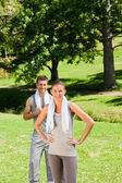 Exhausted couple in the park — Stock Photo