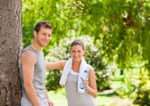 Lovers after the gym — Stock Photo
