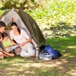 Family camping in the park - Stok fotoğraf