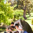Foto de Stock  : Family camping in the park
