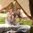 Joyful family camping in the park — Stock Photo #10860071