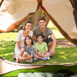 Joyful family camping in the park — Stock Photo
