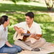 Romantic man playing guitar for his wife - Stock Photo