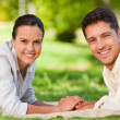 Enamored couple in the park — Stock Photo #10860498