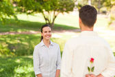 Man offering a rose to his girlfriend — Stock Photo