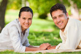 Enamored couple in the park — Stock Photo