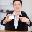 Portrait of a secrertary pointing at a blank business card — Stock Photo #11178728