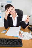 Portrait of a serious accountant checking receipts — Stock Photo