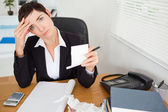 Female accountant checking receipts — Stock Photo