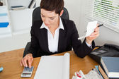 Active accountant checking receipts — Stock Photo