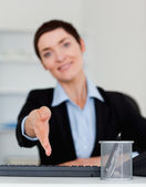 Portrait of a young business woman giving her hand — Stock Photo