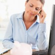 Bankrupt working woman — Stock Photo