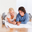 Portrait of a lovely couple organizing their new home — Stock Photo #11183940