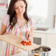 Woman preparing food — Stock Photo