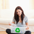 Gorgeous womwith recycling box — Stock Photo #11185351