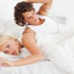 Cute couple waking up — Stock Photo