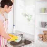 hermosa mujer morena, lavar los platos — Foto de Stock