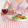 Cute Woman eating lunch and drinking wine — Stock Photo #11187172