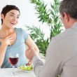 Handsome guy proposing to surprised girlfriend — Stock Photo #11189458