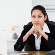 Sad businesswoman at workplace — Stock Photo
