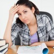 Stock Photo: Stressed student learning for school