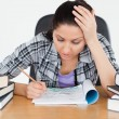 Tired young student learning — Stock Photo