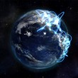 Illustrated image about the world connected with an Earth image courtesy of Nasa.org — Stock Photo