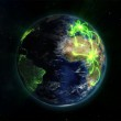 Illustrated earth with glowing connections with an Earth image courtesy of Nasa.org — Stock Photo