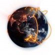 Illustrated orange connections on world with an Earth image courtesy of Nasa.org — Stock Photo