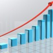 Arrow going over bars forming a statistic — Stock Photo