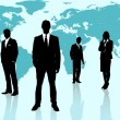 Businesspeople standing against a blue world map — Stok fotoğraf