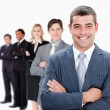 Businesspeople standing in a row — Stock Photo #11189978