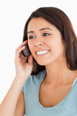 Portrait of a gorgeous woman on the phone — Stok fotoğraf