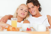 Close up of a couple having breakfast — Stock Photo