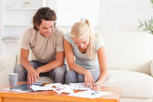 Smiling couple calculating their expenses — Stock Photo