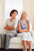 Portrait of a young couple after an argument — Stock Photo