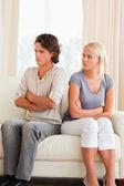 Portrait of an upset couple after an argument — Stock Photo